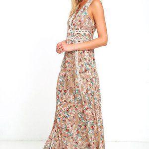 Lulus Sun Will Shine Beige Floral Print Maxi Dress